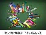 different school supplies in... | Shutterstock . vector #469563725