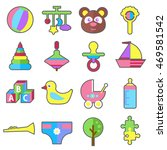 baby child toys flat vector... | Shutterstock .eps vector #469581542