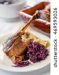 roasted goose leg with red... | Shutterstock . vector #469593026