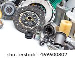new car parts on a gray... | Shutterstock . vector #469600802