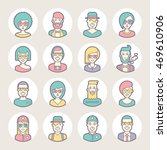 creative set of round avatars...