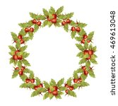 autumn wreath with red berries. ... | Shutterstock .eps vector #469613048