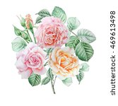 floral card with flowers. rose. ... | Shutterstock . vector #469613498