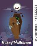 happy halloween banner zombie... | Shutterstock .eps vector #469623236