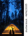 Stock photo silhouette of a cat and dog in a camping tent under the stars in the woods at night 469623335