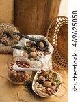 vintage still life  almonds  ...   Shutterstock . vector #469625858