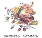 vintage watercolor pair of... | Shutterstock . vector #469635626