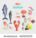 seafood set design flat fish... | Shutterstock . vector #469693235