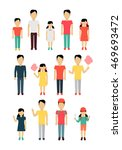 set of father with children... | Shutterstock . vector #469693472