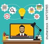 laptop with video online... | Shutterstock .eps vector #469735985