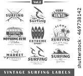set of vintage surfing labels.... | Shutterstock . vector #469738142