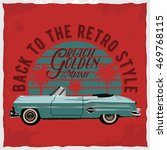 hand drawn retro car with a... | Shutterstock . vector #469768115