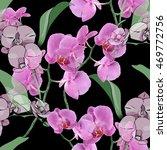 orchid seamless pattern | Shutterstock . vector #469772756