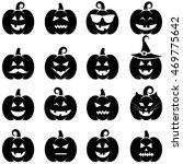 set of black halloween pumpkin... | Shutterstock .eps vector #469775642