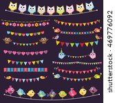 colorful flags and garlands set ... | Shutterstock . vector #469776092