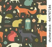 pattern with forest animals mae ... | Shutterstock .eps vector #469787186