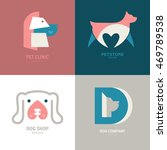 Stock vector set of logotypes with dogs dog logo collection logotype for vet clinic pet shop dog training or 469789538