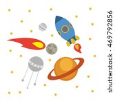 fun space illustration. vector. | Shutterstock .eps vector #469792856
