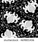 black and white floral wallpaper | Shutterstock .eps vector #469801436