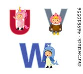 english alphabet with kids in... | Shutterstock .eps vector #469810556
