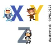 english alphabet with kids in... | Shutterstock .eps vector #469810826