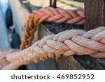 ropes on old rusty ship closeup.... | Shutterstock . vector #469852952