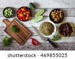 preparing tabbouleh  tabouleh... | Shutterstock . vector #469855025