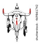 bull skulls with feathers and... | Shutterstock .eps vector #469861742
