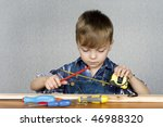 cute kid as a construction... | Shutterstock . vector #46988320