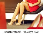 woman in red clothes sitting on ... | Shutterstock . vector #469895762