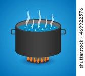 pan. boiling water. vector... | Shutterstock .eps vector #469922576