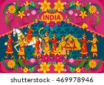 floral background with indian... | Shutterstock .eps vector #469978946