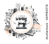 vector hand drawn sewing... | Shutterstock .eps vector #469983578