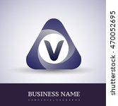 v letter logo in the triangle... | Shutterstock .eps vector #470052695
