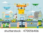 big city modern technologies... | Shutterstock .eps vector #470056406