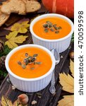 homemade pumpkin soup | Shutterstock . vector #470059598
