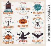halloween retro style emblems... | Shutterstock .eps vector #470066126