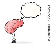 cartoon brain with thought... | Shutterstock . vector #470071025