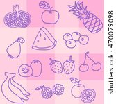 set of fruit doodle background | Shutterstock .eps vector #470079098