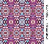 rhombus boho flower tile...   Shutterstock .eps vector #470080946