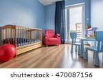 spacious blue baby room with... | Shutterstock . vector #470087156
