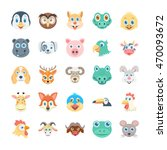 birds and animals faces colored ... | Shutterstock .eps vector #470093672