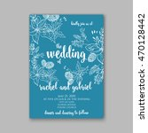 floral wedding invitation with... | Shutterstock .eps vector #470128442