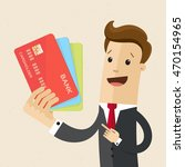 man in suit shows plastic cards.... | Shutterstock .eps vector #470154965