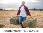 portrait of farmer and harvest. ... | Shutterstock . vector #470165912