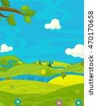 cartoon happy nature scene  ... | Shutterstock . vector #470170658