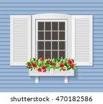 white shutter window on blue...   Shutterstock .eps vector #470182586