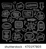 set of hand drawn linear speech ...   Shutterstock .eps vector #470197805