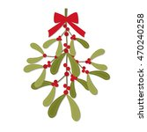 christmas card with red bow on... | Shutterstock .eps vector #470240258