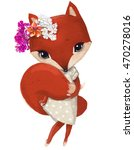 cute fox girl with floral wreath | Shutterstock . vector #470278016